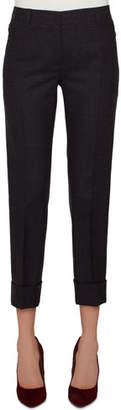 Akris Maxima Conical-Leg Cropped Cuffed Pants