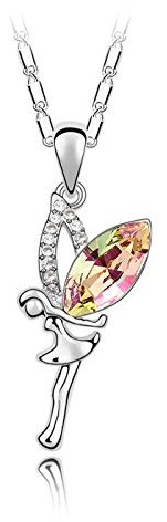 """Miki&Co Silver Swarovski Elements Women's Crystal Elf angel Pendant Necklace , 17.7"""", with a Gift Box"""