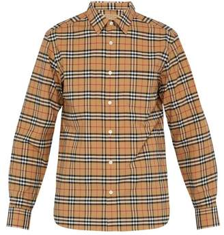 3b9484c2720 Burberry George House Check Cotton Blend Shirt - Mens - Camel
