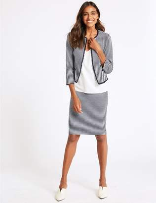 Marks and Spencer Cotton Blend Striped Jersey Pencil Skirt