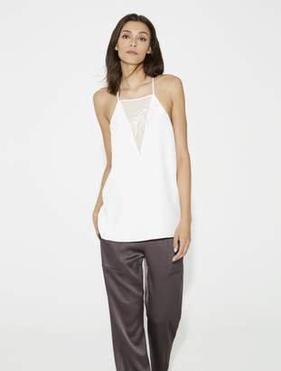 Halston Cadi Tank With Embroidery
