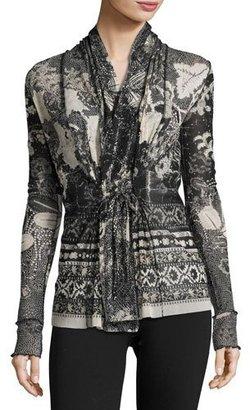 Fuzzi Tie-Front Batik Tulle Cardigan $490 thestylecure.com