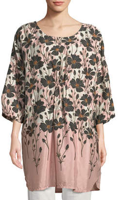 Masai Guari Art Nouveau-Printed Scoop-Neck 3/4-Sleeve Shantung Tunic