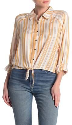 Love, Fire Tie Front Long Sleeve Button Shirt