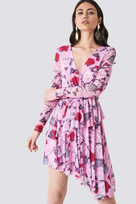 NA-KD Na Kd Flounced Overlap Mesh Dress Flower Pink Pattern