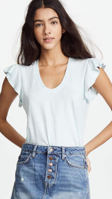 Rebecca Taylor Short Sleeve Washed Textured Jersey Top