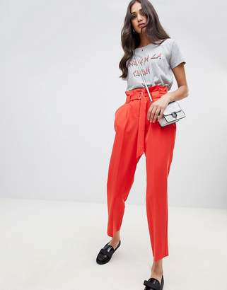 Miss Selfridge tapered trousers with paperbag waist in red