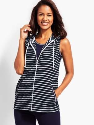 Talbots Saltwater Stripe Hooded Zip-Front Terry Vest