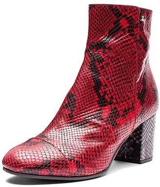 Zadig & Voltaire Women's Lena Wild Snake-Embossed Leather Block Heel Booties