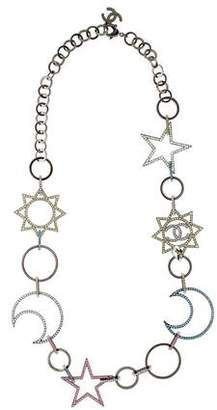 Chanel Crystal Moon & Stars Link Necklace