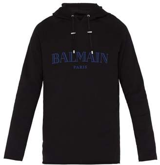 Balmain Flocked Logo Cotton Hooded Sweatshirt - Mens - Black