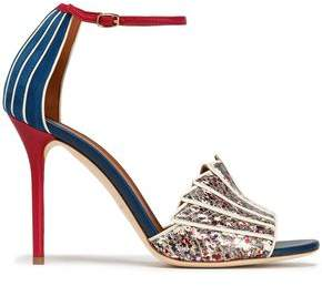 Malone Souliers Suede Smooth And Printed Snake-Effect Leather Pumps