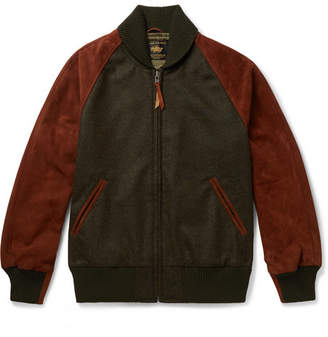 GoldenBear Golden Bear - The Griffith Wool-Tweed and Suede Bomber Jacket - Men - Green