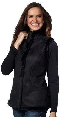 Denim & Co. Faux Suede Snap Front Vest with Faux Fur Trim