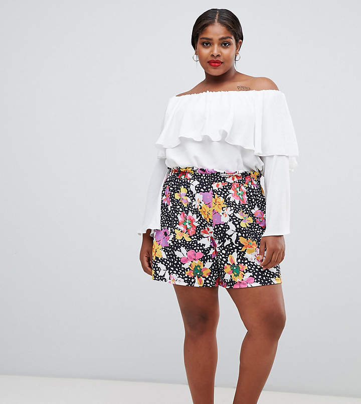 ASOS Curve ASOS DESIGN Curve culotte shorts with paperbag waist in floral print