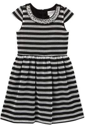Blush by Us Angels Stripe Fishnet Jersey Dress (Big Girls)