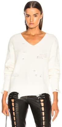Helmut Lang Distressed Longsleeve V Neck Sweater