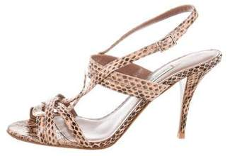 Tabitha Simmons Embossed Leather Ankle Strap Sandals