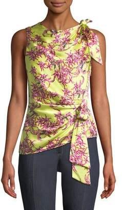 Cinq à Sept Nanon Gathered Floral Sleeveless Silk Top