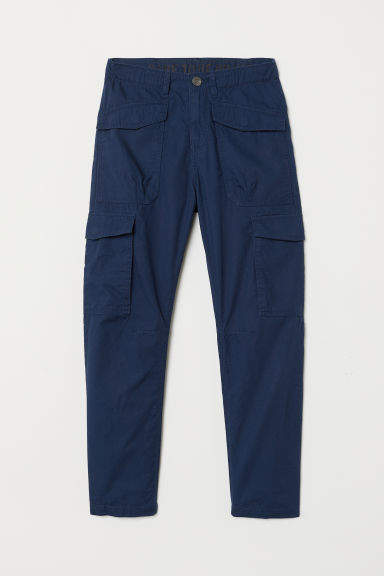 H&M - Jersey-lined Cargo Pants - Blue