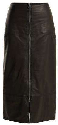 Raey Zip Front Leather Pencil Skirt - Womens - Black