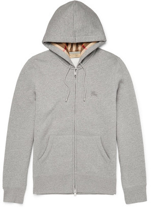 Burberry Slim-Fit Cotton-Blend Jersey Zip-Up Hoodie $325 thestylecure.com