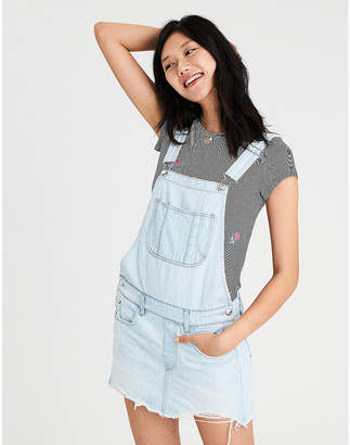 American Eagle AE Ripped Denim Overall Skirt
