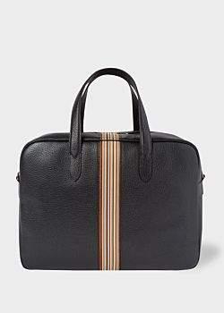 Paul Smith Men s Black Leather Signature Stripe Weekend Bag f1c1e63957