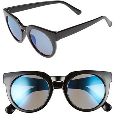 Women's Bp. 51Mm Round Mirrored Sunglasses - Black/ Blue
