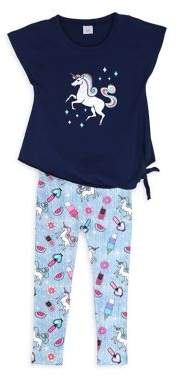 Capelli New York Little Girl's Two-Piece Unicorn and Twinkles Printed Top and Leggings Set