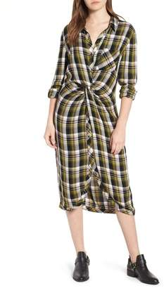 Caslon Twist Front Plaid Shirtdress (Regular & Petite)