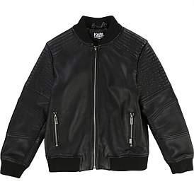 Karl Lagerfeld Iconik Blue Leather Jacket(8-14 Years)