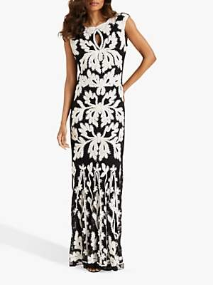 Phase Eight Paige Tapework Dress, Black/Ivory