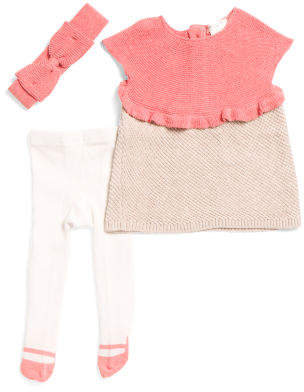 Newborn Girls Textured Sweater Dress With Headband & Tight