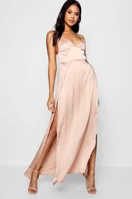 boohoo Katherine Satin Extreme Split Maxi Dress