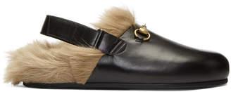 Gucci Black Horsebit River Slippers