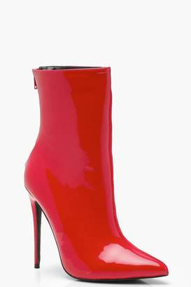 boohoo Contrast Fabric Pointed Shoe Boots