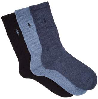 Polo Ralph Lauren Pack Of Three Logo Embroidered Socks - Mens - Blue Multi