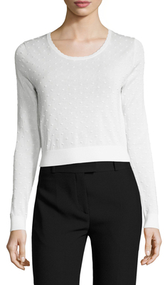 Carven Textured Dots Scoopneck Sweater