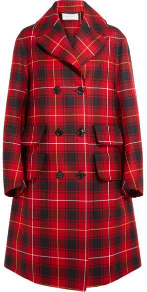 Gucci - Oversized Appliquéd Tartan Wool Coat - Red