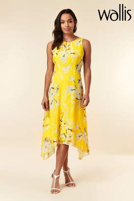 Wallis Womens Yellow Orchid Hanky Hem Dress - Yellow