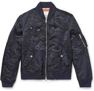 Valentino Slim-Fit Shell-Jacquard Bomber Jacket - Men - Navy