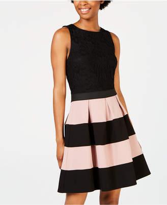 Speechless Juniors' Colorblocked-Skirt Fit & Flare Dress