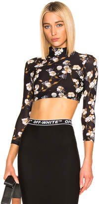 Off-White Off White Cropped Floral Top in Black   FWRD