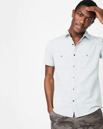 Express Slim Dobby Short Sleeve Shirt