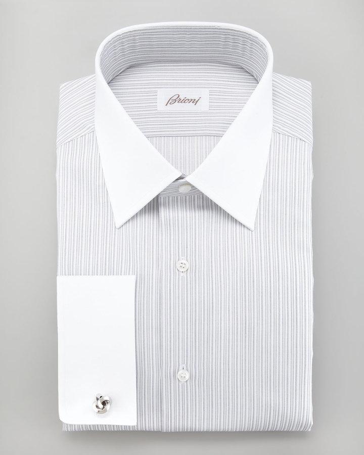 Brioni Striped French-Cuff Dress Shirt