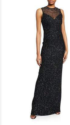 St. John Confetti Sequin Sweetheart-Illusion Sleeveless Column Gown