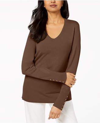 JM Collection Button-Sleeve Ribbed Sweater