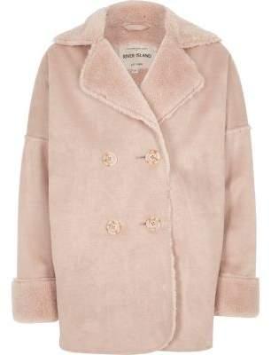 River Island Girls pink faux shearling coat