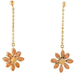 18K Enamel Flower Drop Earrings